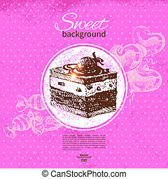 Vintage sweet background. Hand drawn illustration. Menu for restaurant and cafe