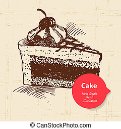 Vintage sweet cake background with color bubble. Hand drawn illustration