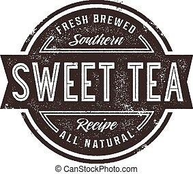 Vintage Sweet Tea Sign - Vintage style stamp design for...