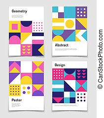 Vintage swiss graphic, geometric bauhaus shapes. Vector...