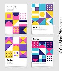 Vintage swiss graphic, geometric bauhaus shapes. Vector...
