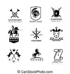 Vintage sword vector badges and labels or logo set. Heraldry elements