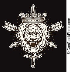 Vintage symbol of a lion head with crown.
