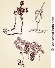 vintage symbols of Christmas - vintage vector hand drawn...