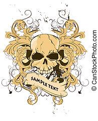 vintage t-shirt design - vector illustration of a skull on a...