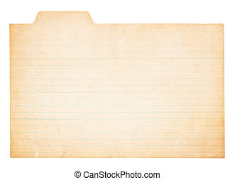 Vintage Tabbed Index Card - An old, yellowing card with tab....