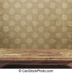 Vintage table on the background of pink polka dots patten
