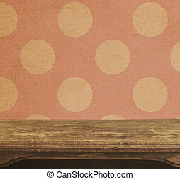 Vintage table on the background of seamless pink polka dots patten