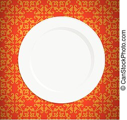 Vintage tablecloth and empty plate