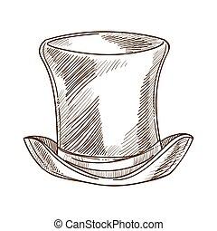 Vintage tall hat or cylinder, retro fashion design of headdress