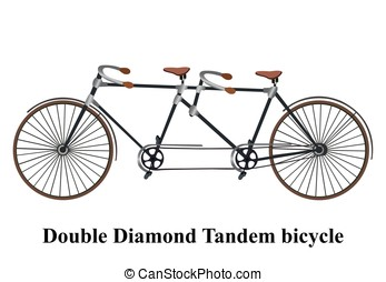 Vintage tandem bicycle isolated on white background. Vector illustration