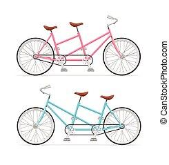 Vintage Tandem Bicycle Set. Vector