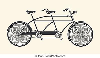 Vintage tandem bicycle - Vintage Illustration of tandem...