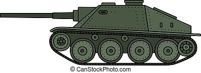 Hand drawing of a vintage green tank destroyer
