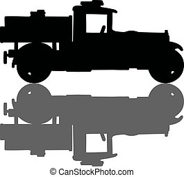Vintage tank truck - Hand drawing of a black silhouette of a...
