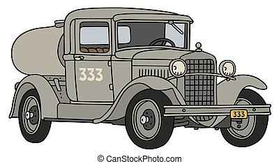 Vintage tank truck - Hand drawing of a vintage tank truck -...