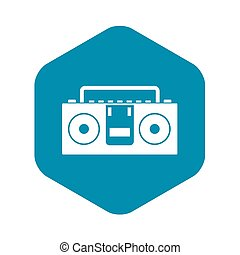 Vintage tape recorder icon, simple style
