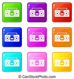 Vintage tape recorder icons 9 set