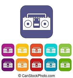 Vintage tape recorder icons set flat