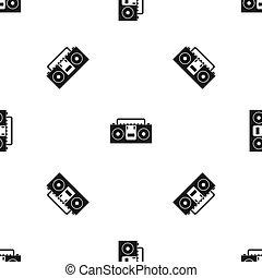 Vintage tape recorder pattern seamless black