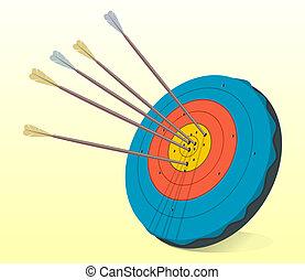 Vintage Target and Arrows - Illustration of historic target...