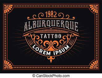 Vintage Tattoo Logo with floral frame.