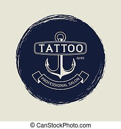 Vintage tattoo salon emblem with anchor vector illustration