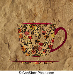 Vintage tea cup on the paper card