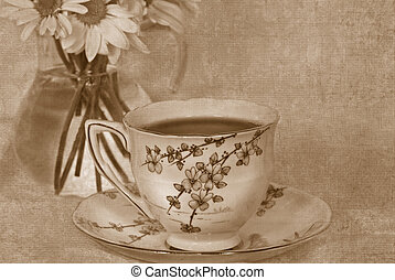 Vintage Tea - Vintage tea set in sepia.