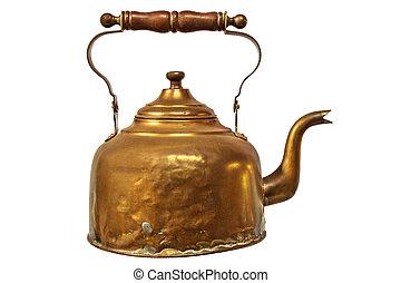 Vintage tea kettle isolated on white