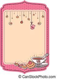 Vintage tea set and sweet cakes