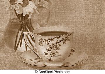 Vintage Tea - Vintage tea set in sepia.