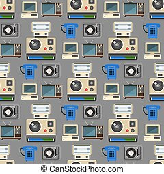 Vintage technologies vector retro audio multimedia entertainment old electronic gadget communication seamless pattern background illustration.