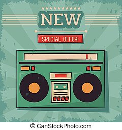vintage technology stereo cassette music