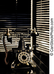 Vintage Telephone - Film Noir Scene with Retro Phone and Blinds