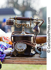 Vintage telephone in a flea market