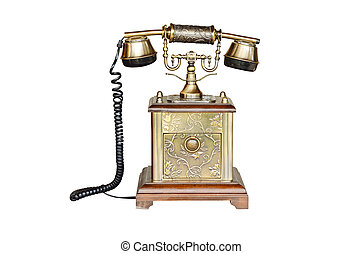 vintage telephone isolated on white
