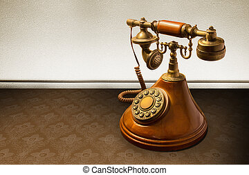 Vintage telephone over striped