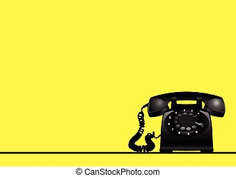 Rotary vintage telephone on yellow background