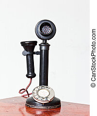 vintage telephone with it reflection isolated