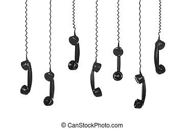 Vintage Telephones black on white background - Old Vintage...