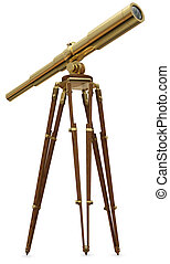 Vintage brass telescope on a white background