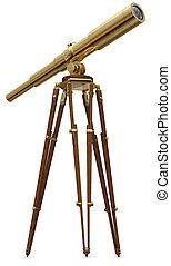 Vintage Telescope - Vintage brass telescope on a white...