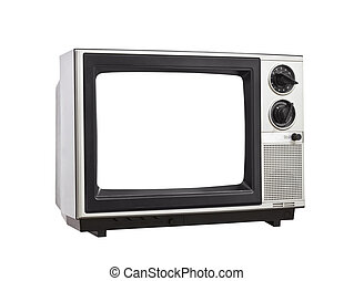 Vintage Television Isolated with Blank Screen