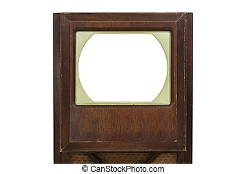 VIntage Television Isolated with Cut Out Screen