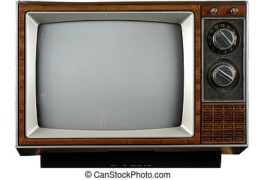 Vintage Television - Old grungy Vintage TV with clipping...