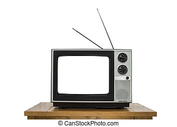 Vintage Television on Wood Table Isolated on White with Cut Out Screen