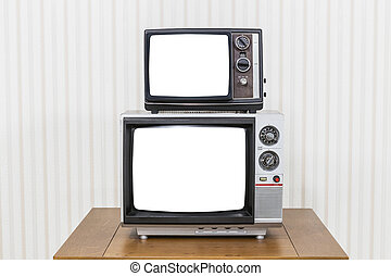 Vintage Television Stack with Cut Out Screens