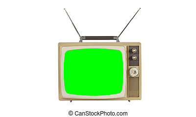Vintage Television with Antennas and Chroma Key Screen