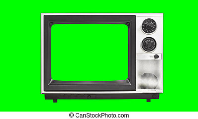 Vintage Television with Chroma Green Screen and Background